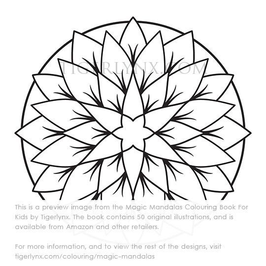 Easy Abstract Mandala Colouring Page This Is A Preview Image From The Magic Mandalas Book For Kids By Tigerlynx Childrens