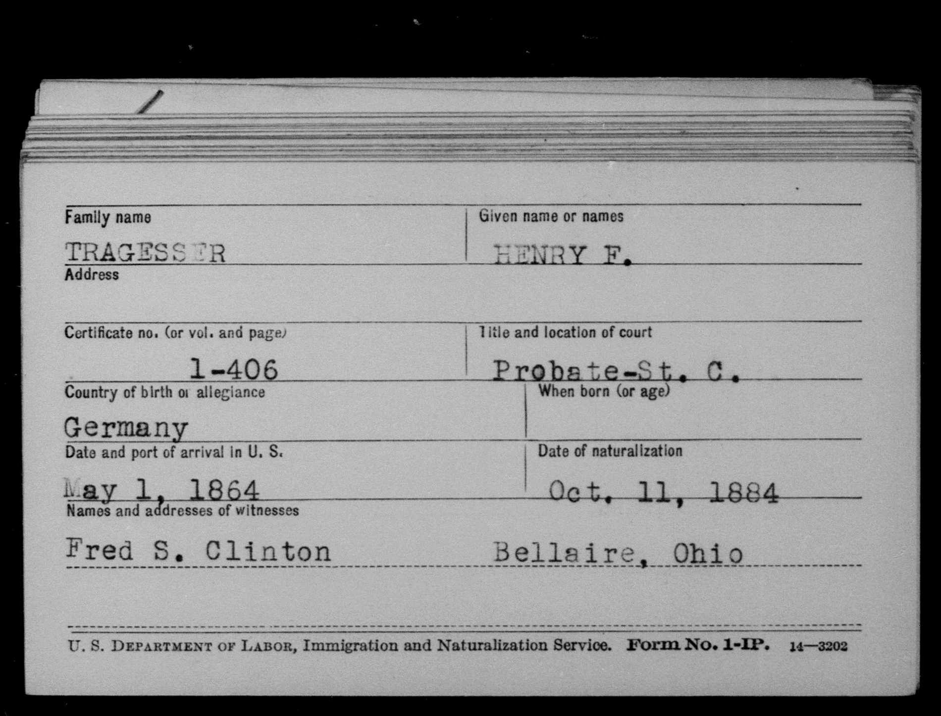 Henry F Tragesser Ohio County Naturalization Records 1800 1977 Myheritage Ohio County My Heritage Records