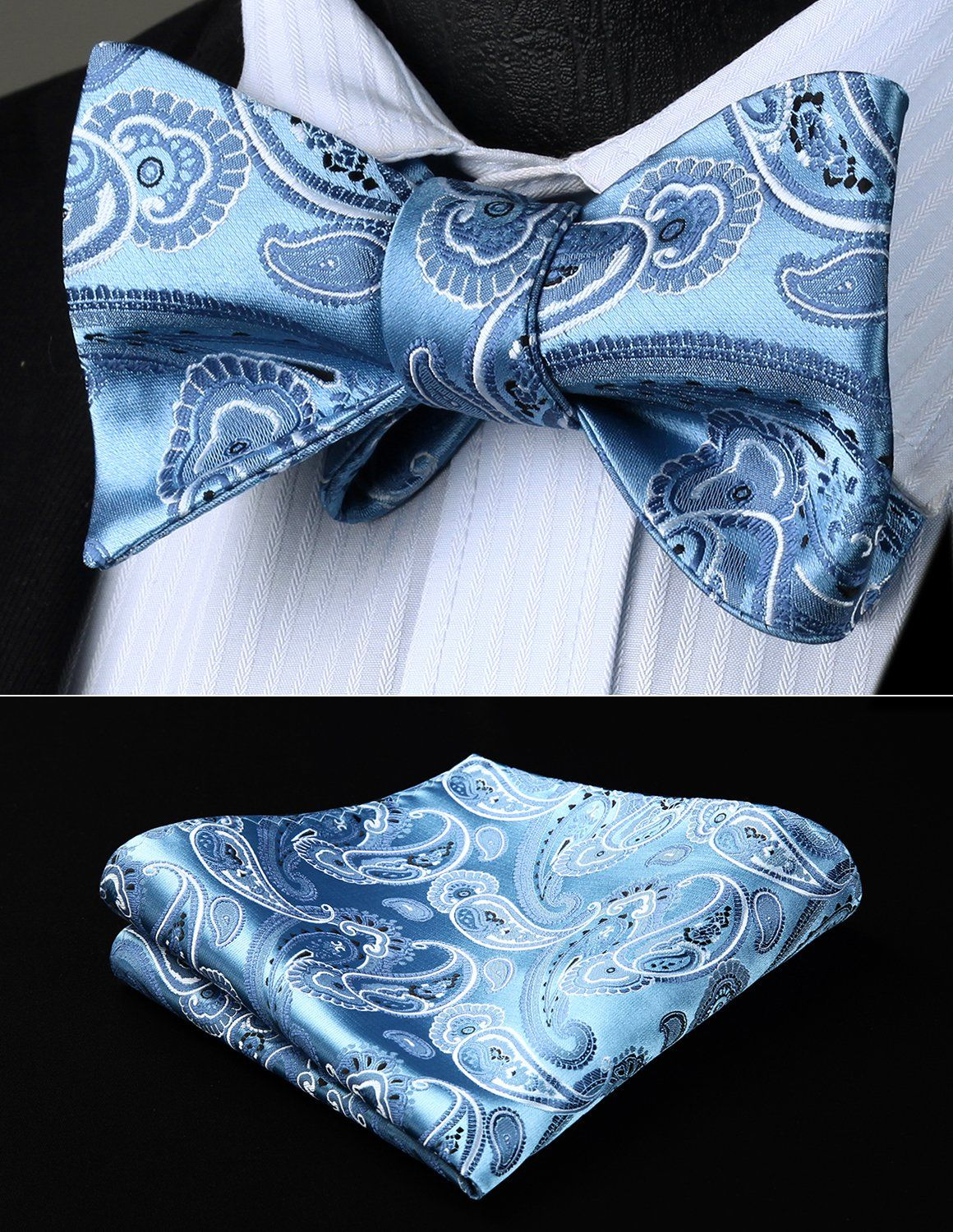 HISDERN Paisley Wedding Self Cravate Cravate Mouchoir pour hommes Cravate Self Bow /& Pocket Set
