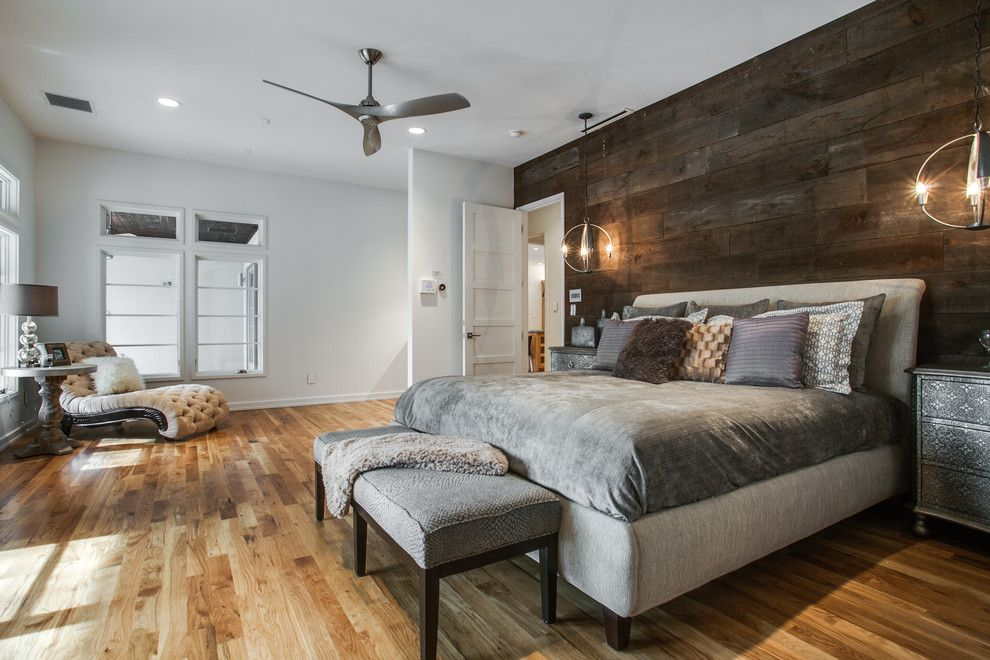 Bright Minka Aire Ceiling Fans In Bedroom With Reclaimed Wood Walls Next To  Wood Accent