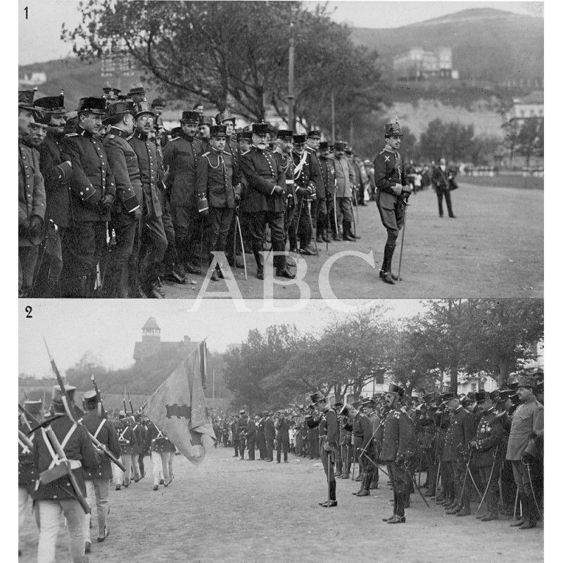 /10/1915 D. ALFONSO XIII EN SAN SEBASTIÁN. 1.- S.M. EL REY (X) PRESENCIANDO EL DESFILE DE TROPAS EN LA REVISTA MILITAR VERIFICADA EN EL CAMPO DE ONDARRETA. 2.- EL MONARCA (X) SALUDANDO A LA BANDERA: Descarga y compra fotografías históricas en   abcfoto.abc.es