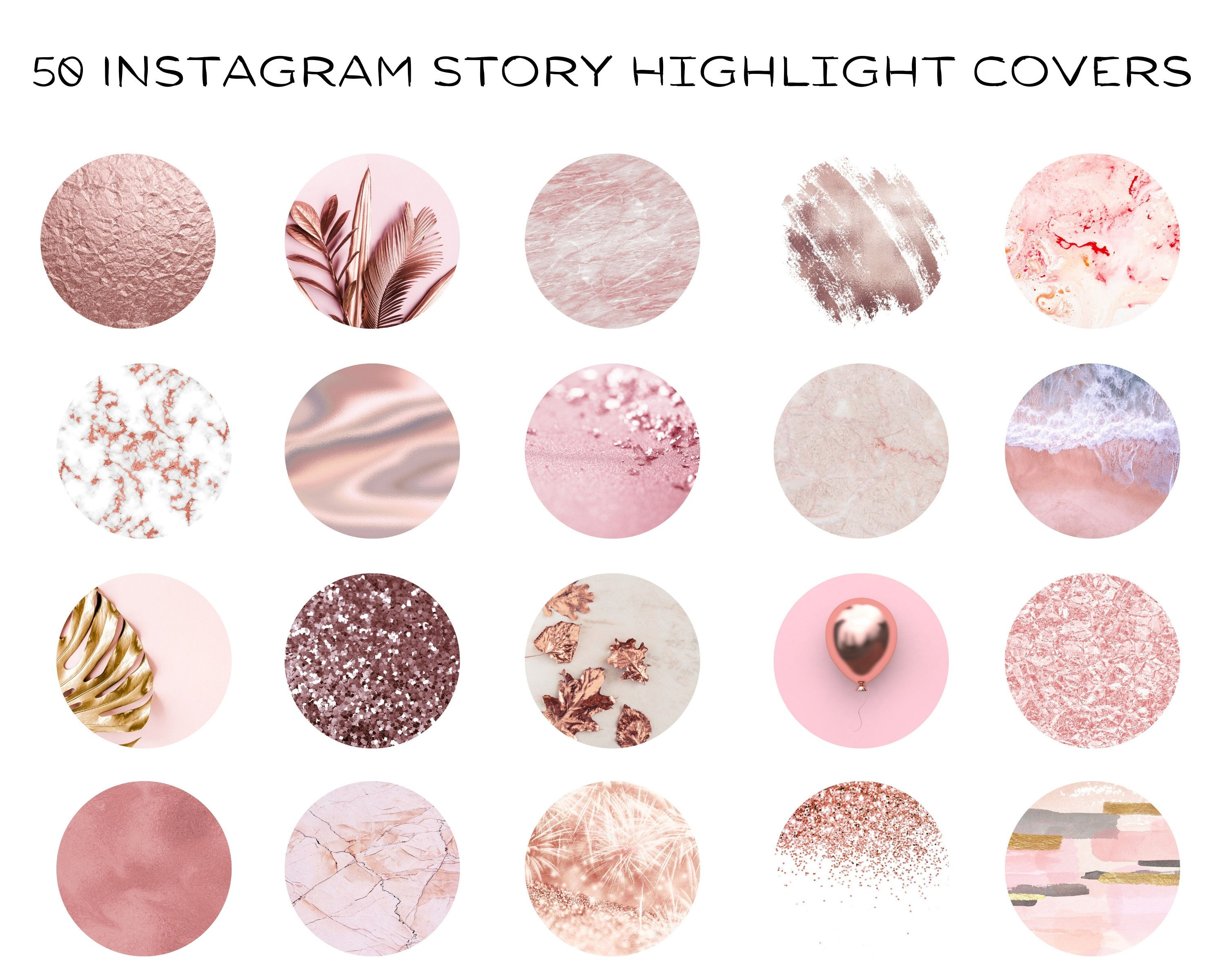 50 Instagram Highlight Covers, Glitter Instagram icons