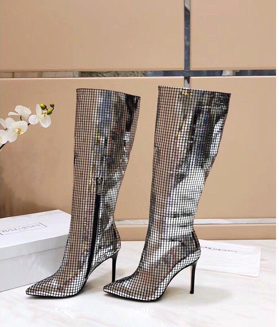 444810acebc Balmain Inspired Joris Mirror Knee High Boots – Celebrity Inspiracion