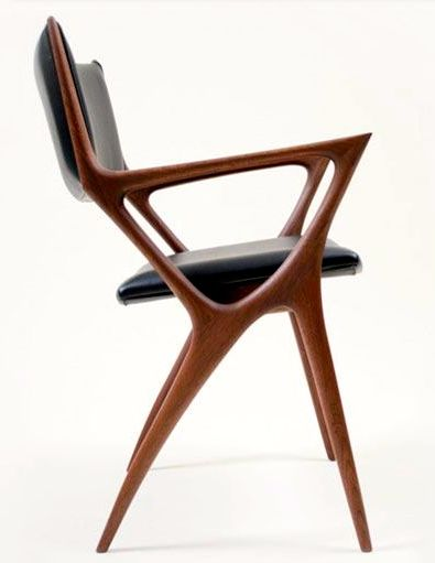 Noriyuki Ebina; Walnut and Leather 'Issa' Armchair for Kozai Modern, c2010.