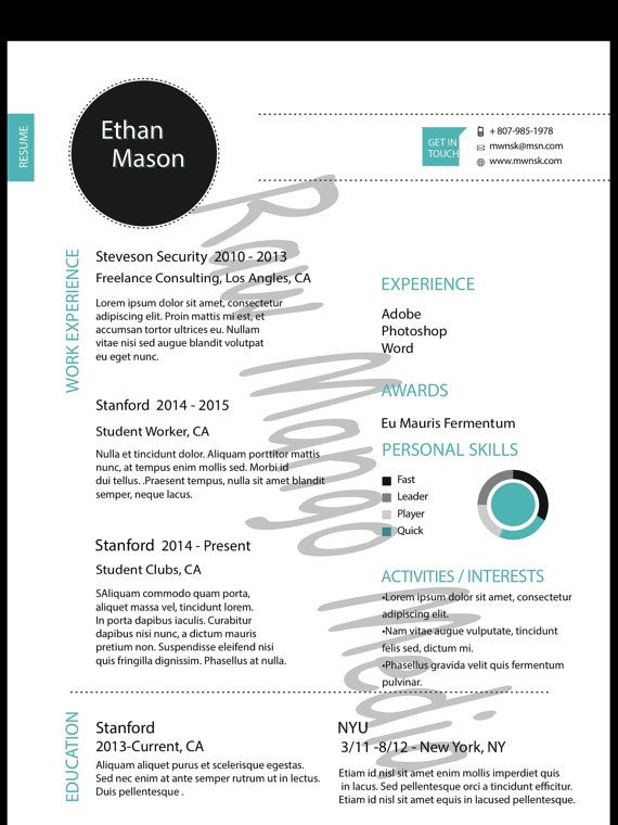 Resume Template, Digital Download, PDFand AI Format Microsoft - find resume templates word 2007