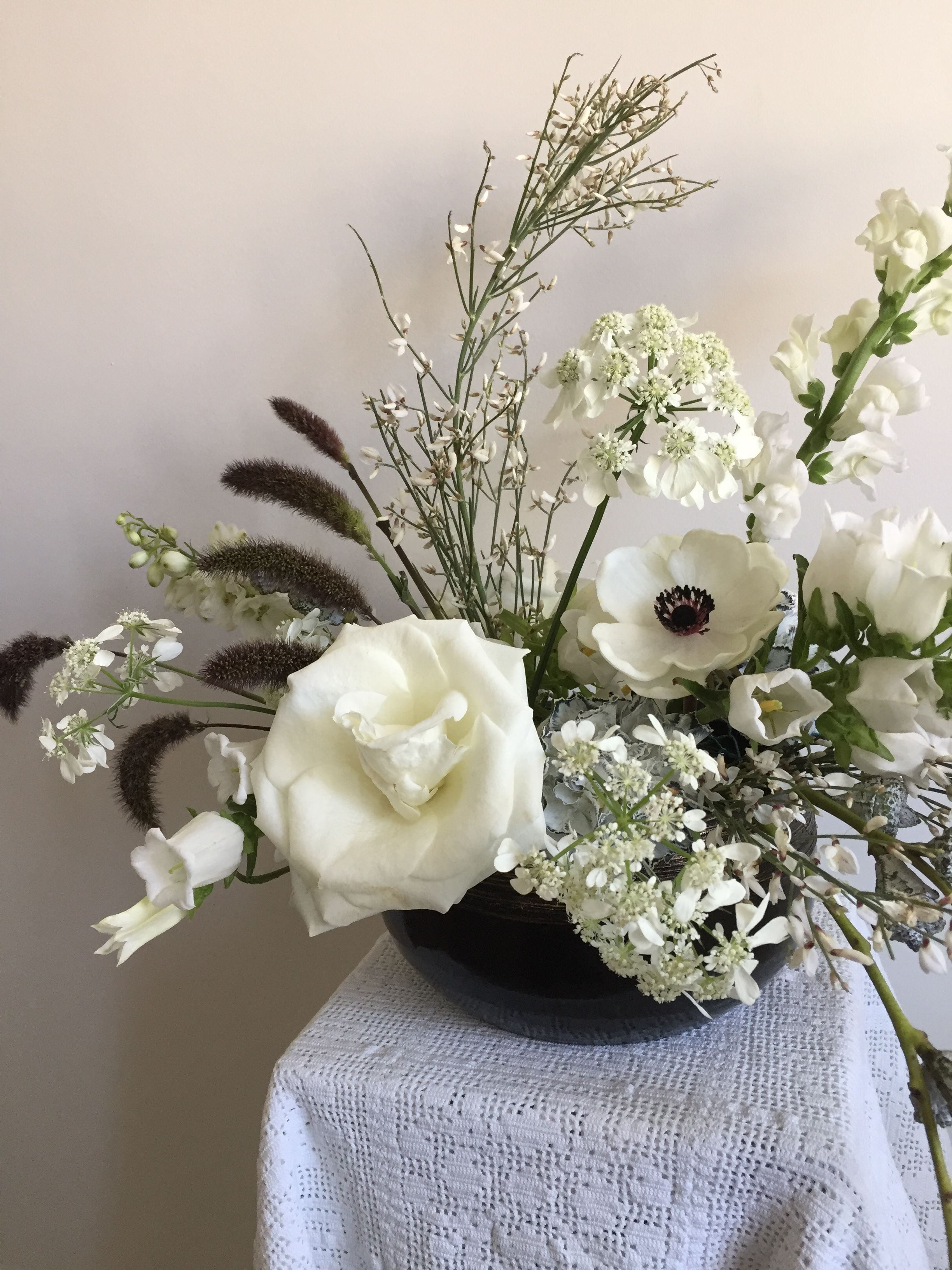 Black And White Flowers Centerpiece White Flowers Pinterest