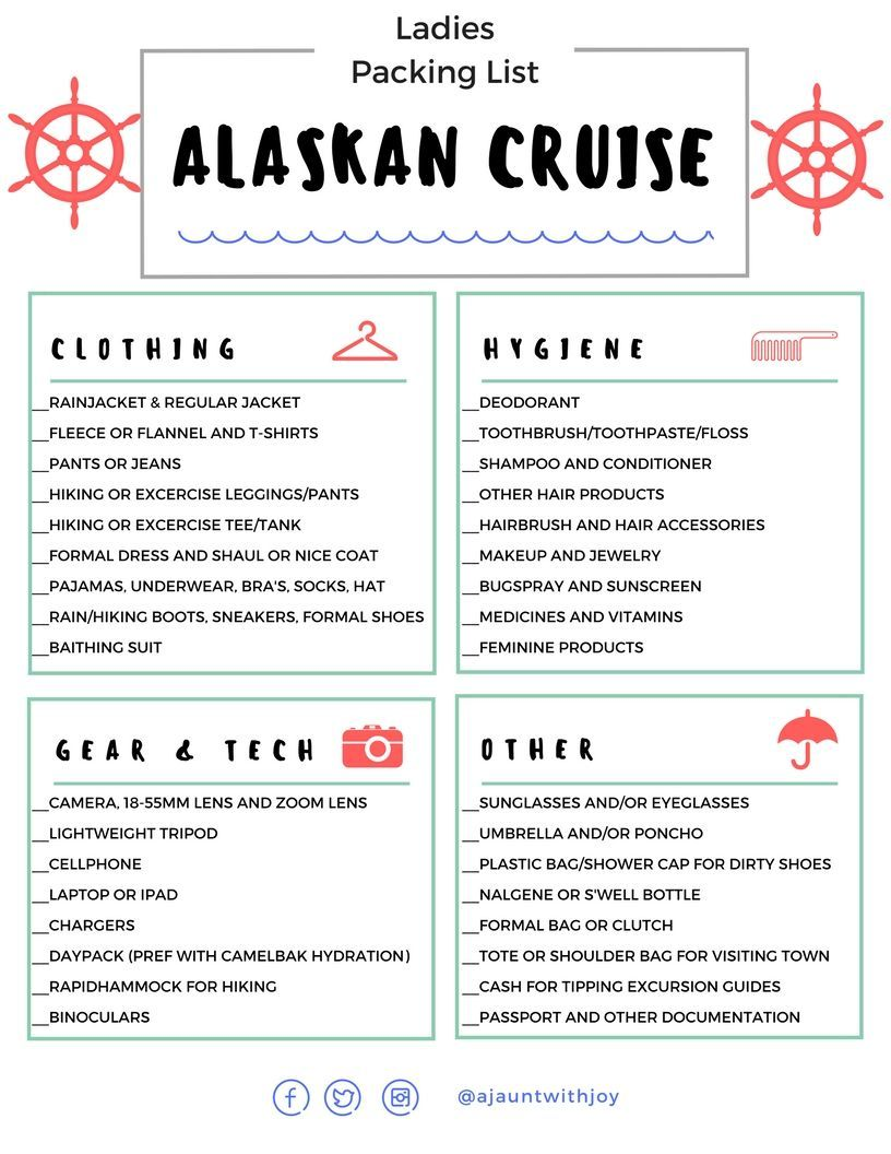 printable ladies packing list for an alaskan cruise created by a jaunt with joy who seasonally works onboard cruise ships and has cruised many times to