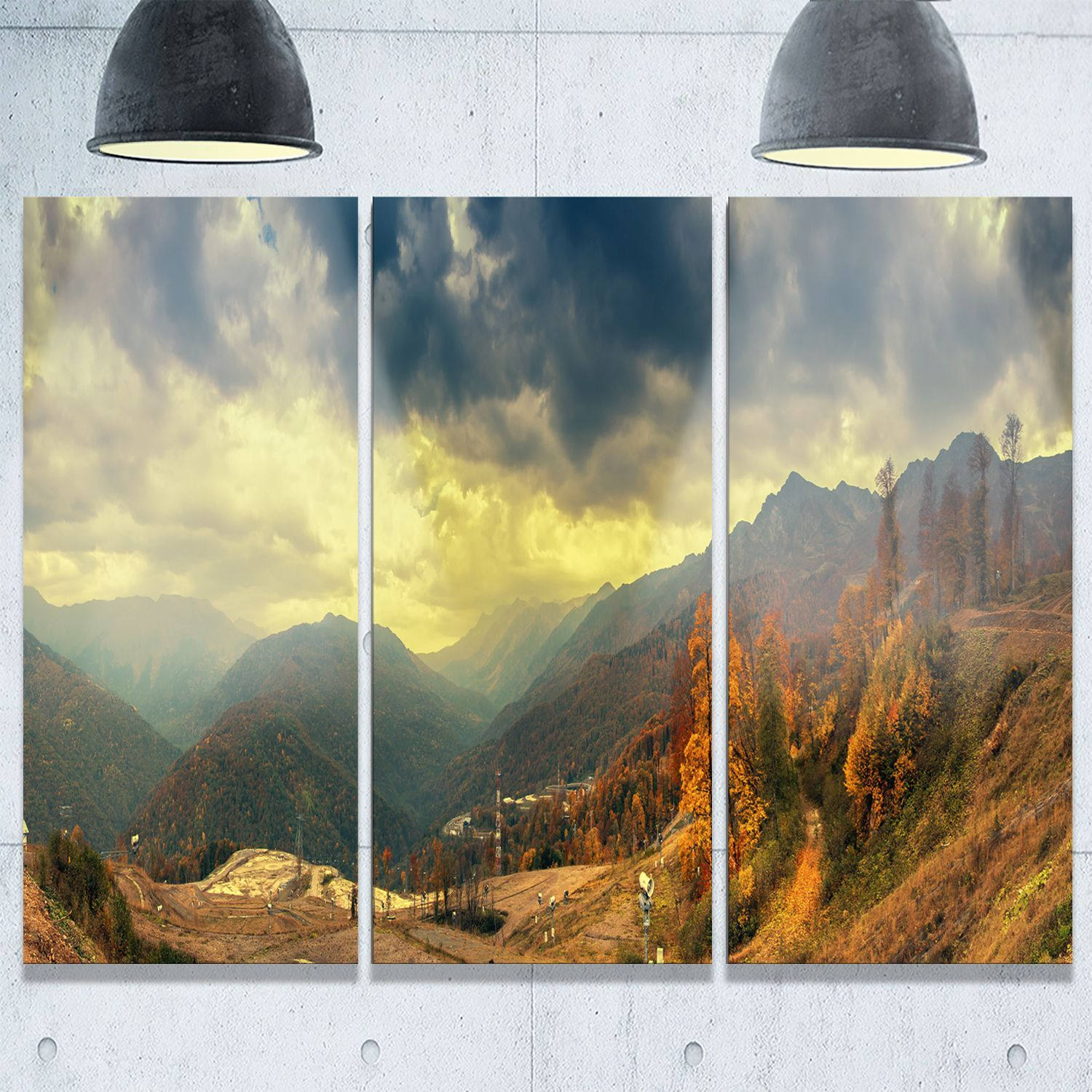 Caucasus Mountains Panorama - Landscape Glossy Metal Wall Art ...