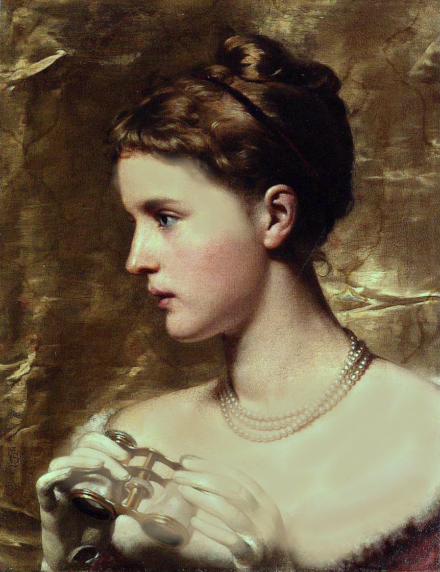 SEPIA TONE PORTRAIT OF A LADY AT THE OPERA