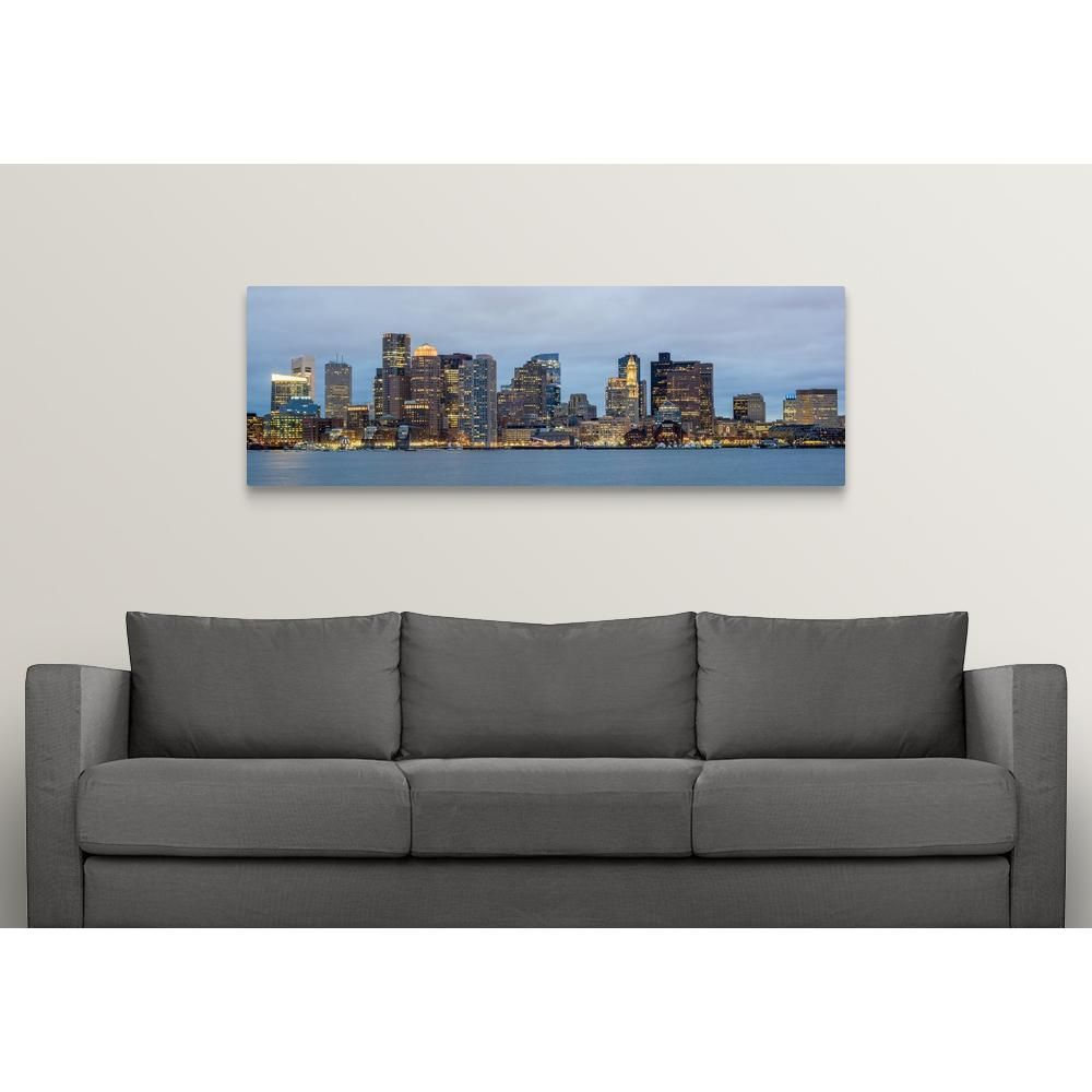 Greatbigcanvas Boston City Skyline In The Evening By Circle Capture Canvas Wall Art Multi Colored Canvas Wall Art City Skyline Wall Art