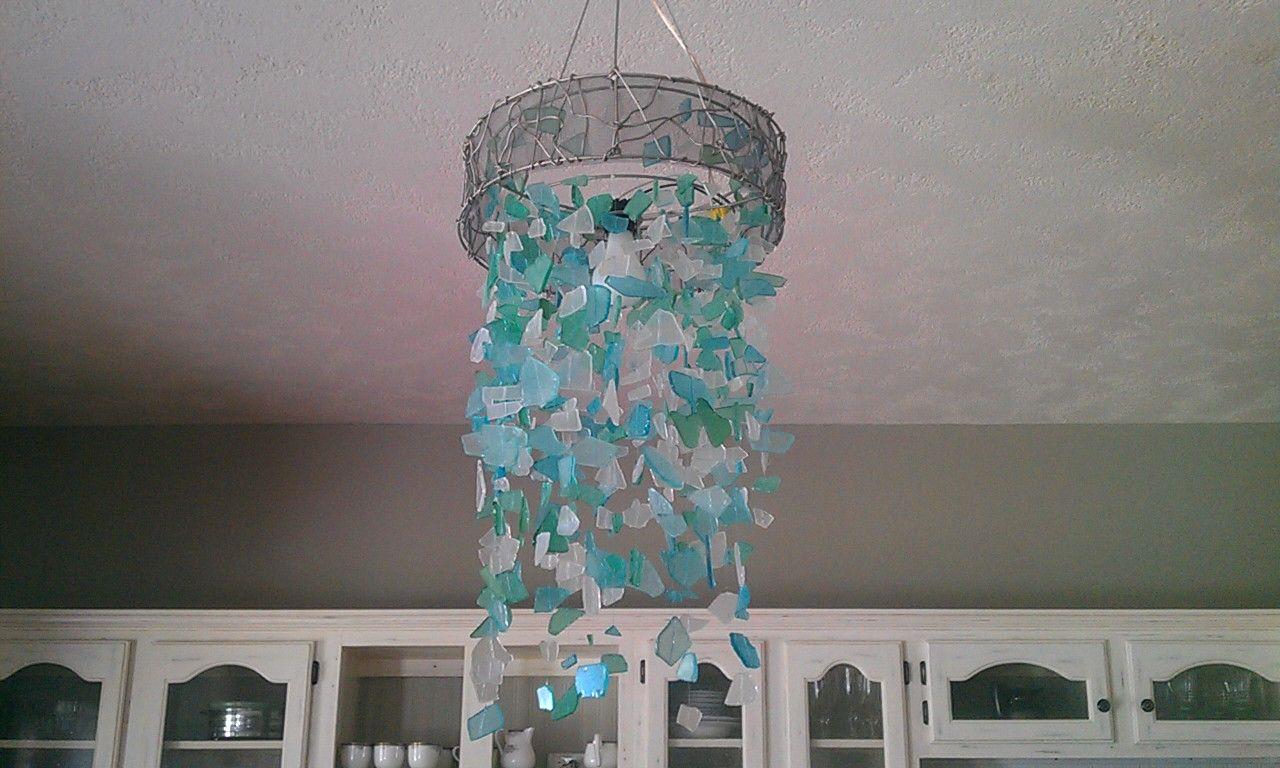 Handmade Seaglass Chandelier By Holly Arnold Sea Glass Diy Diy