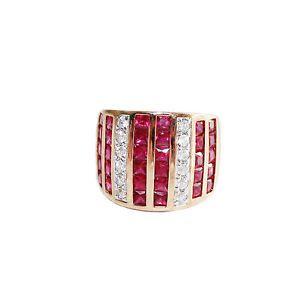 Wide Band Channel Set Multi Gemstone 925 Sterling w Gold Vermeil Ring | eBay