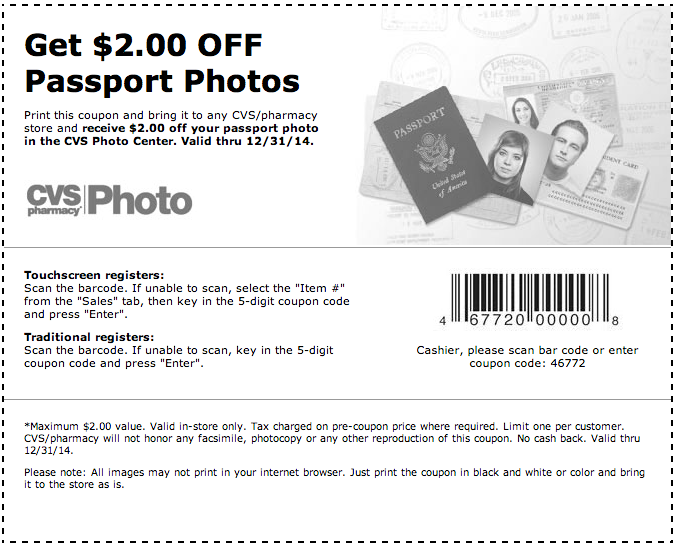 cvs pharmacy   2 off passport photos printable coupon