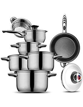 Stainless Hoffmayro Thermometer Casserole Non Stick Read More Reviews Of The Product By Cookware Set Stainless Steel Stainless Steel Cookware Cookware Set Non stick stainless steel cookware set