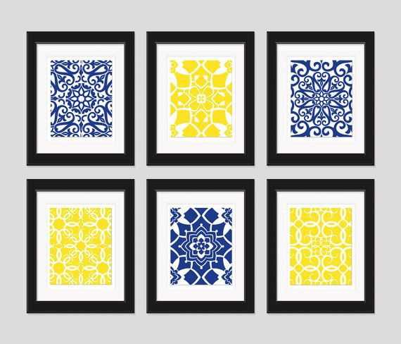 bathroom navy yellow wall art blue yellow art home decor set of