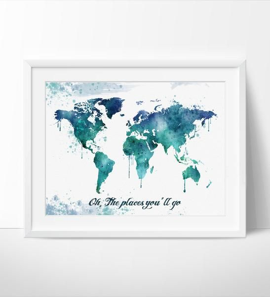 Watercolor map art world map poster large world map world map art watercolor map art world map poster large world map world map art gumiabroncs Gallery