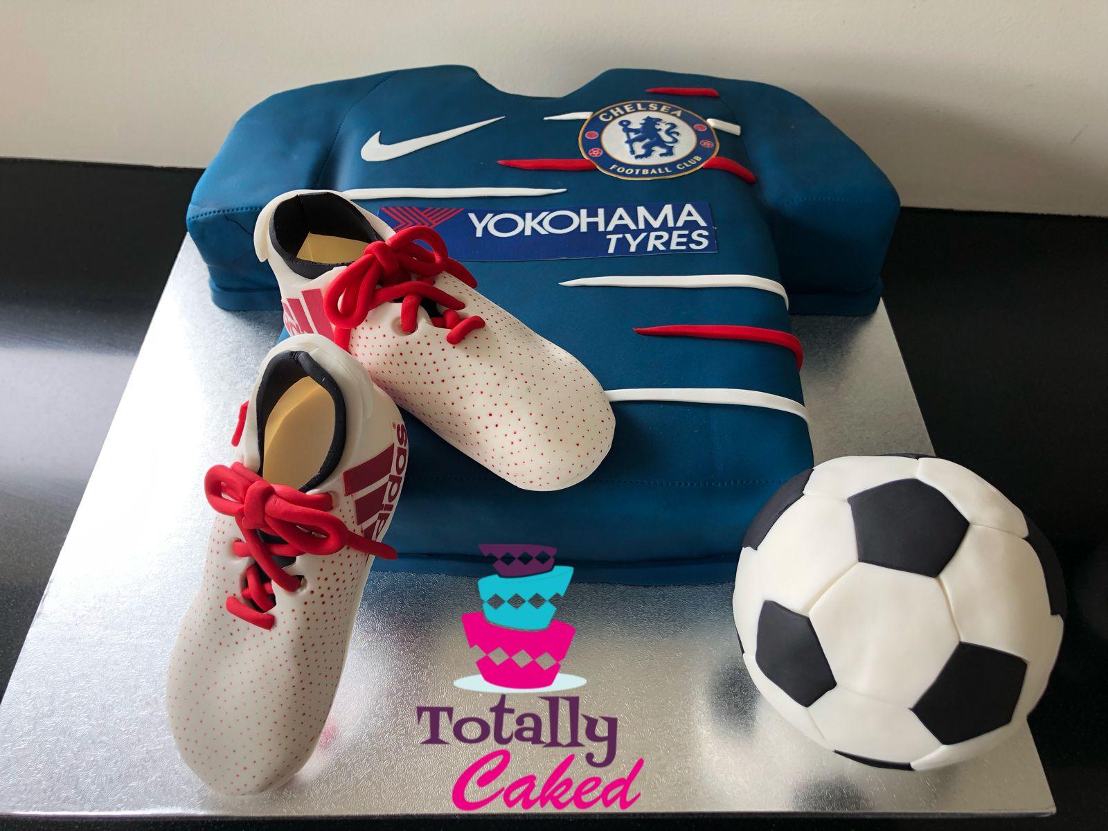 Chelsea football shirt cake and adidas fondant football