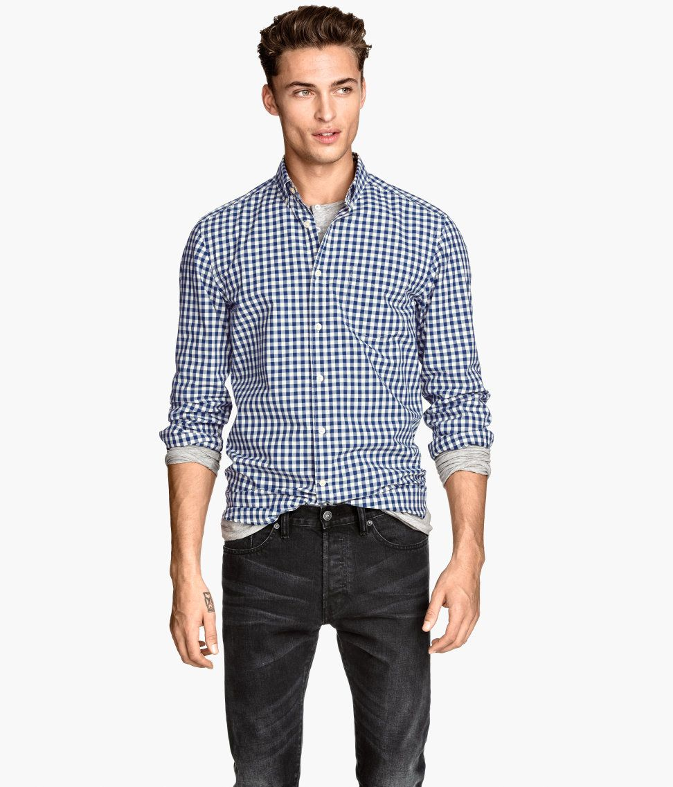 Blue & white gingham shirt with button-down collar and chest ...