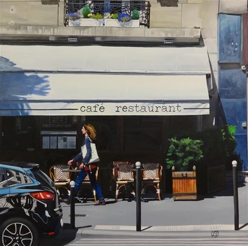 """Daily Paintworks - """"Café Sud Ouest & Cie"""" - Original Fine Art for Sale - © Andre Beaulieu"""