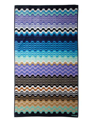 "Lara Beach Towel in Blue Multi, 71""x40"", 100% cotton, $175"