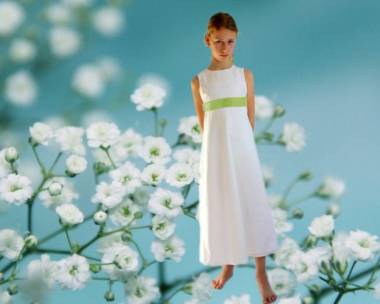 Weiteres - Blumenmädchenkleid Baumwolle fein Blütenranke - ein ...