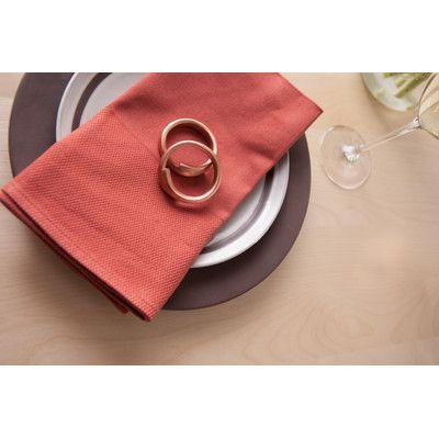 RoomService Partridge Eye Band Cotton Napkin (Set of 4) Color: Terra Cotta