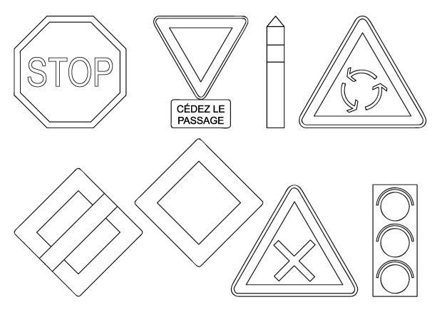 imprimer des coloriages de panneaux de signalisation de danger sur la route panneau de la. Black Bedroom Furniture Sets. Home Design Ideas