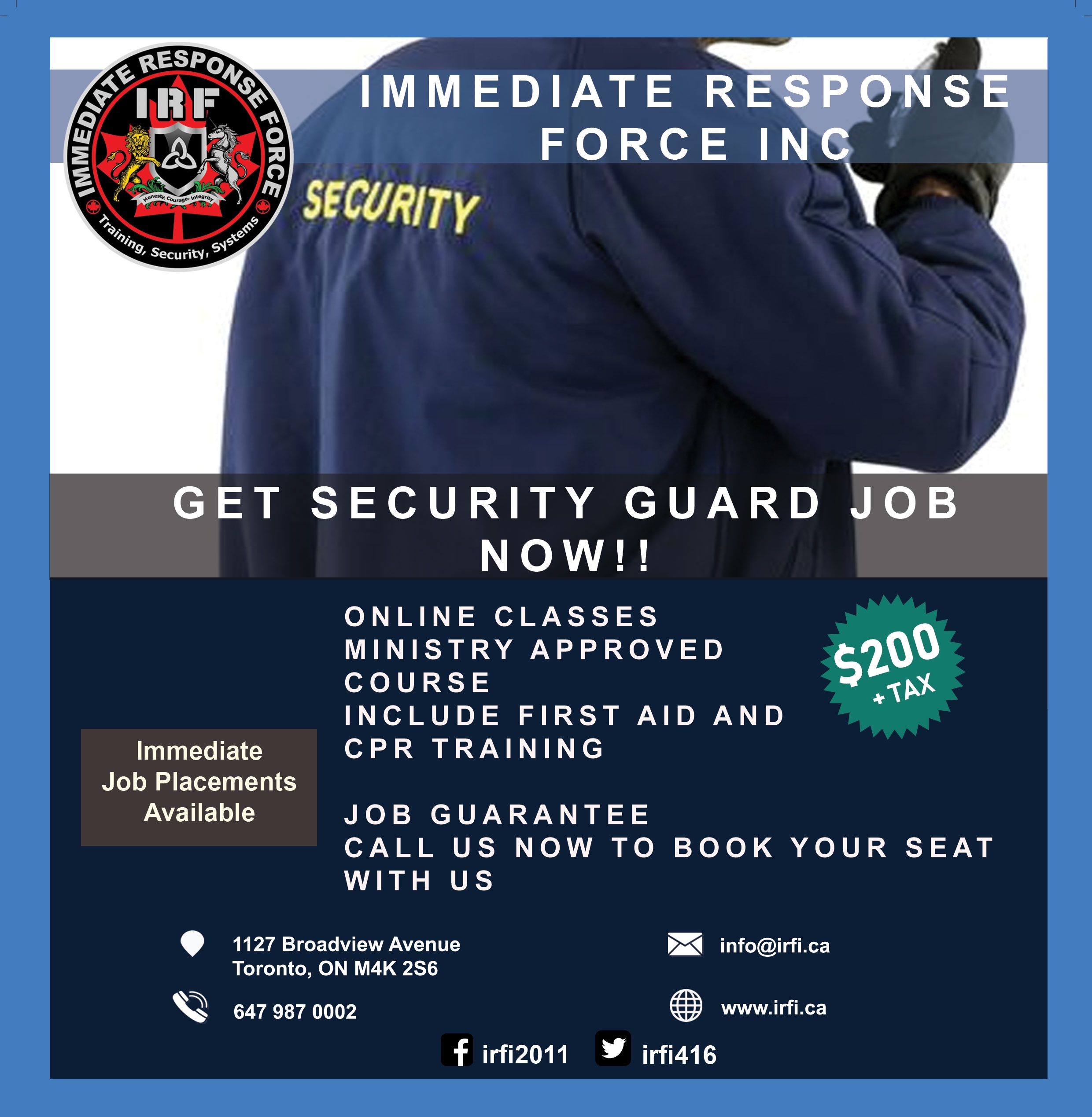 Urgent we need security guards contact us for immediate