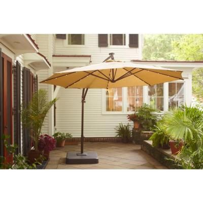 Hampton Bay 11 Ft Offset Led Patio Umbrella In Tan Uxm05201a The Home Depot 299 Patio Offset Patio Umbrella Cantilever Patio Umbrella