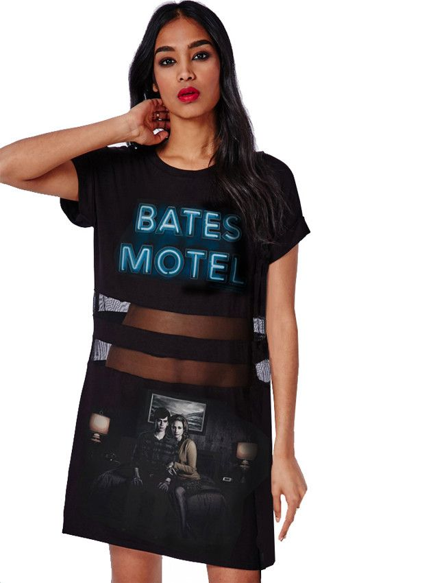 32ab7a3673a Original silk screen prints of our favorite show on TV right now... gracing  this cool Peek A Boo (Sheer Mesh Panels) T-Shirt Dress.