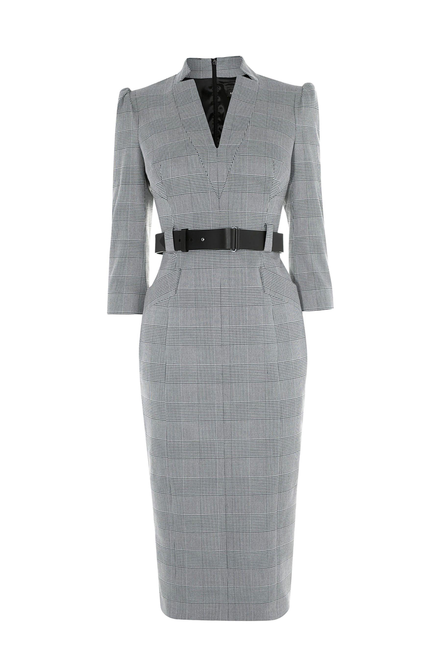f4c3e50c90d1 Womens Karen Millen Grey Minimal Metalwork Check Dress - Grey in ...
