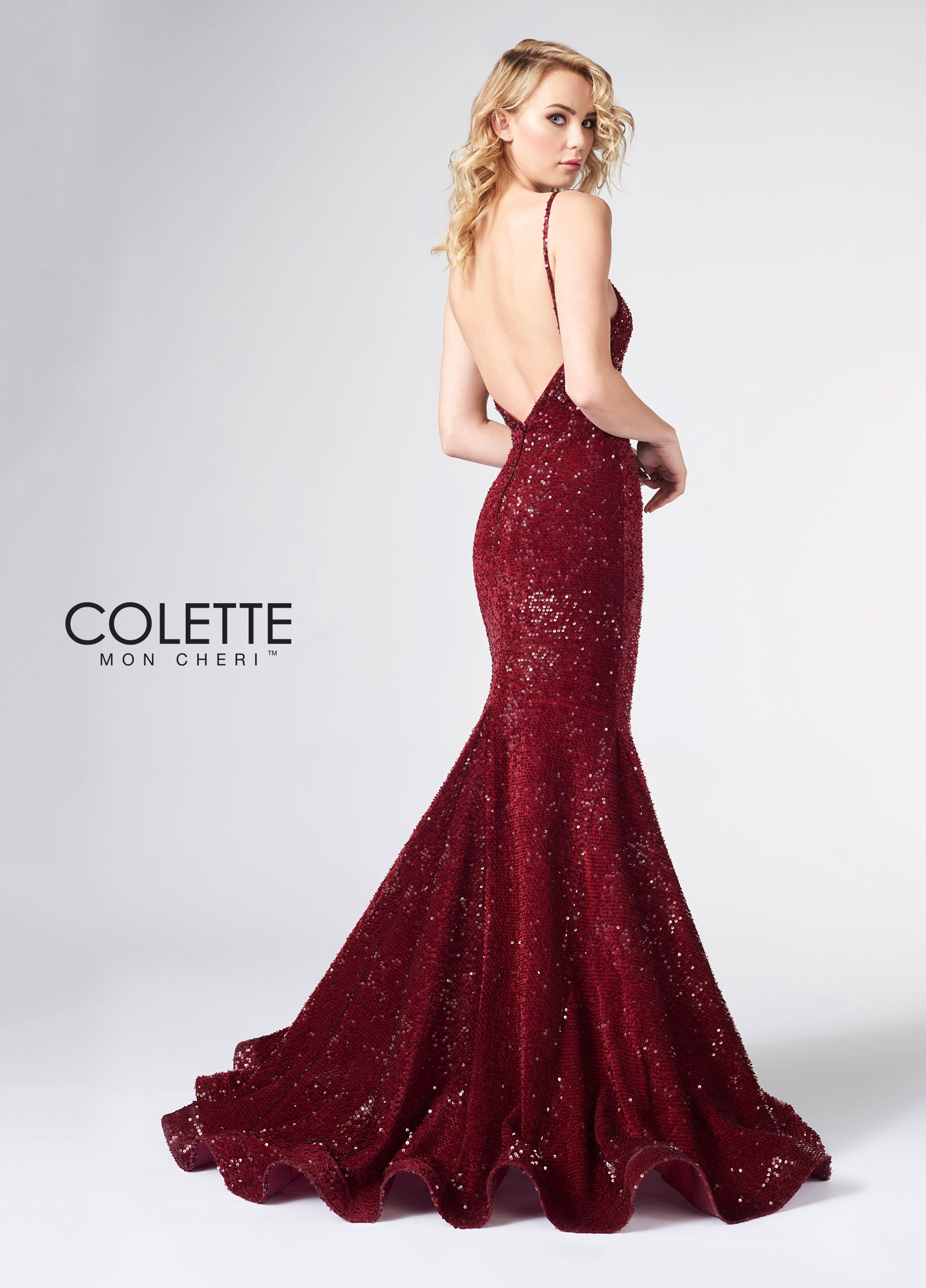 25eabdf7da Colette for Mon Cheri CL21862 - Strut like a celebrity in this sleeveless  stretch sequin velvet trumpet gown with beaded spaghetti straps, a curved  neckline ...