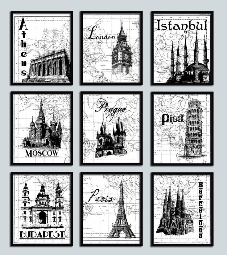 Affordable christmas travel poster print set 9 nine prints modern decor prague london paris moscow pisa famous landmarks world map print