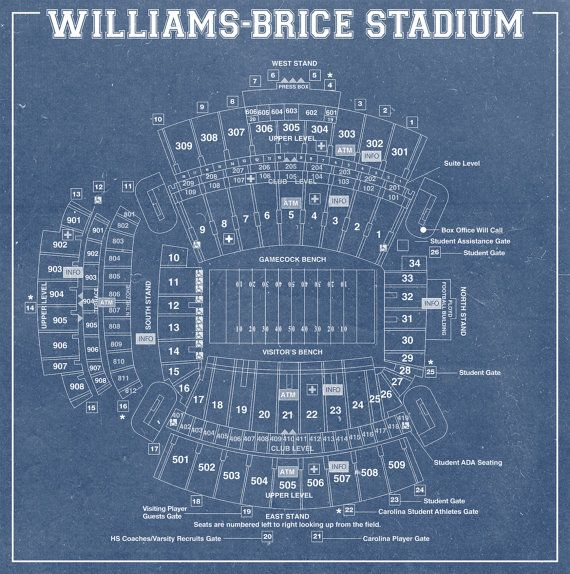 Print of Williams Brice Stadium Vintage Blueprint Photo Paper, Matte - copy api blueprint hypermedia