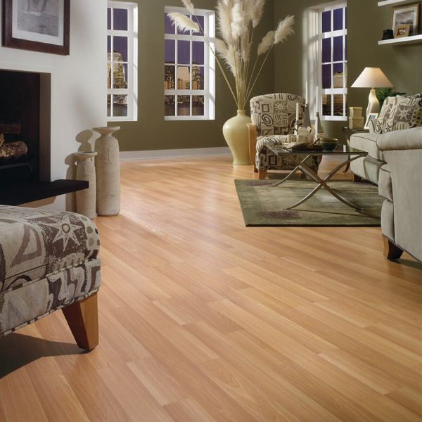 Light Beech Block Dupont Laminate Flooring Living Room