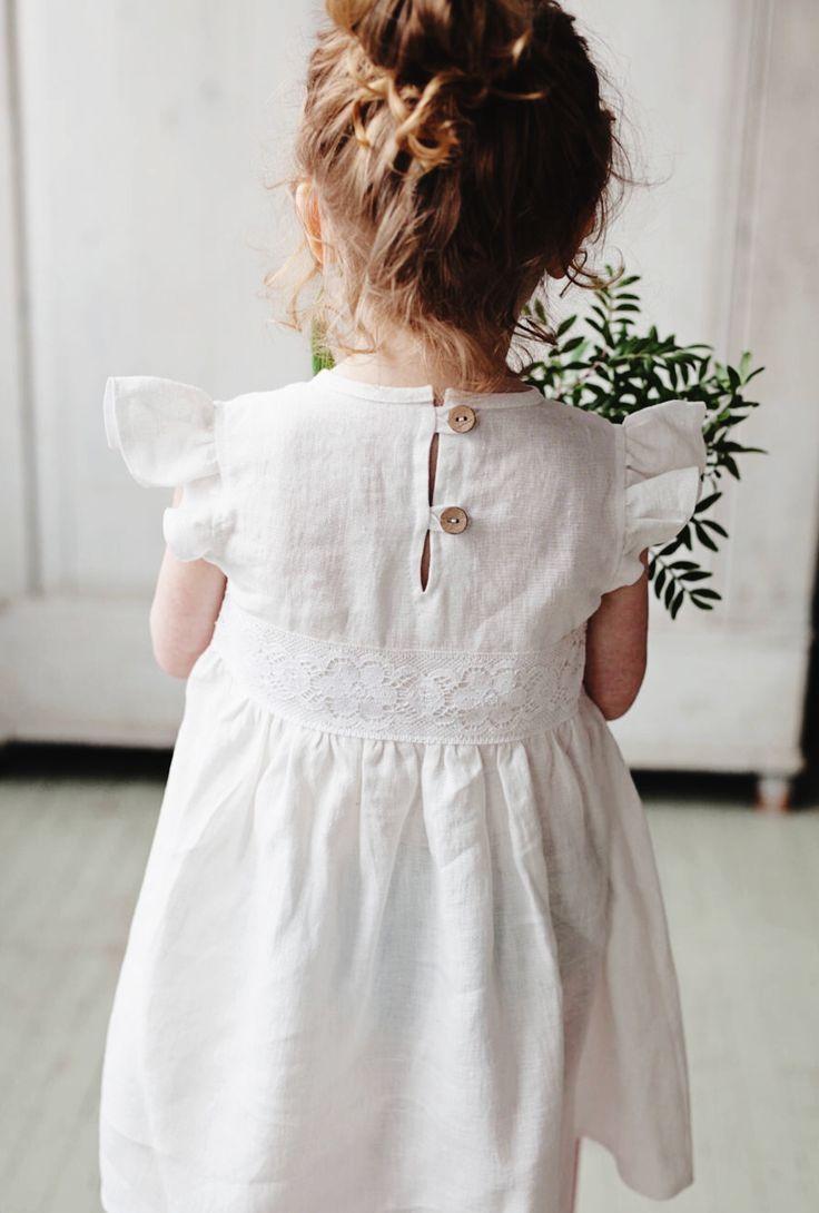 Handmade Linen Dress With Flutter Sleeves Noisyforest On Etsy Girls White Dress White Flower Girl Dresses Summer Linen Dresses [ 1090 x 736 Pixel ]
