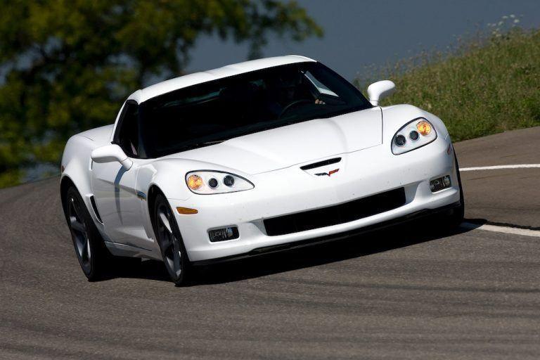A white 2010 Chevrolet Corvette Grand Sport Corvette