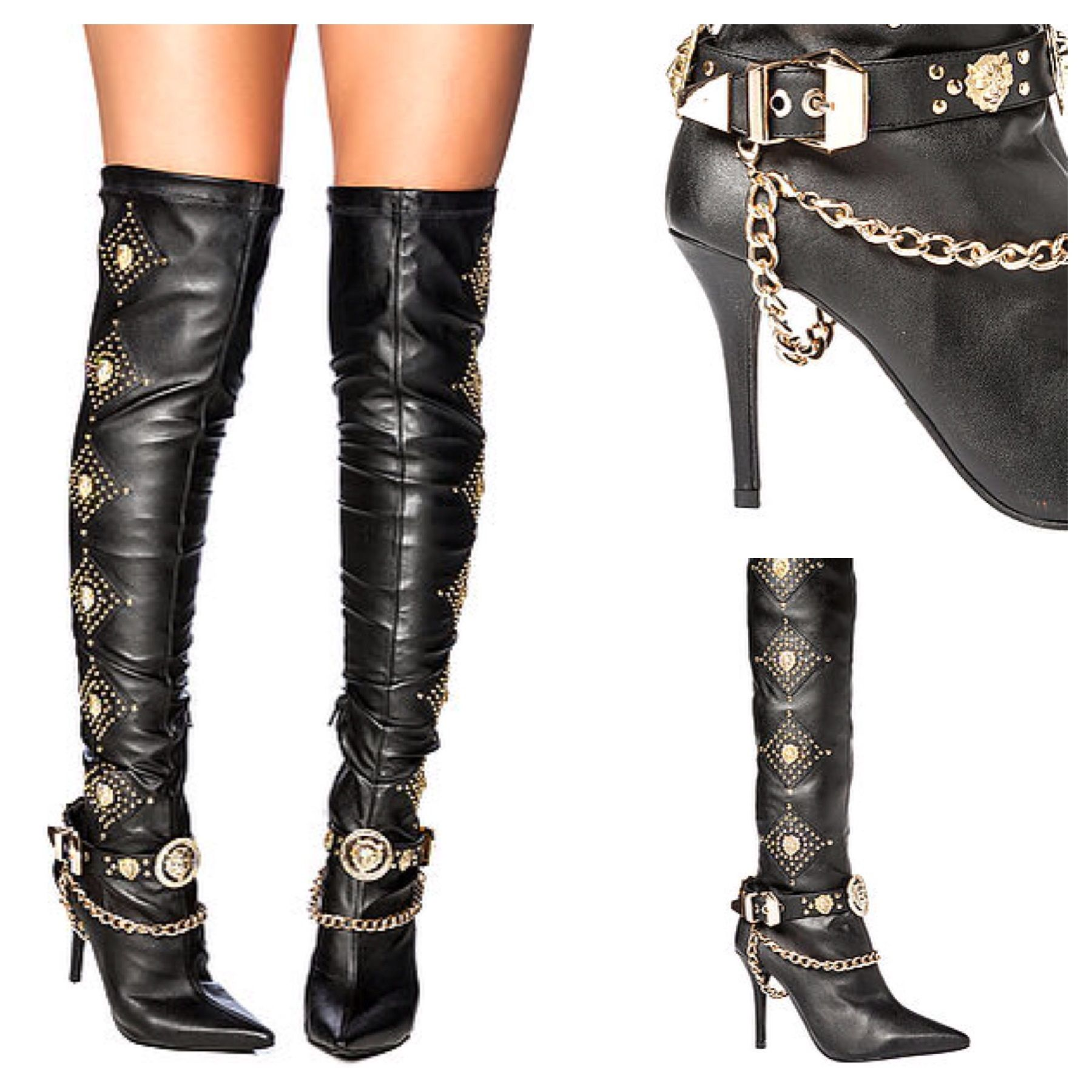 Jeffrey Campbell Purdy Thigh High boot Black And Gold Lion Head ...