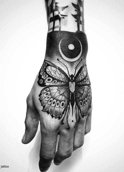 Luna moth tattoo for right hand/ Palm tattoo Unique