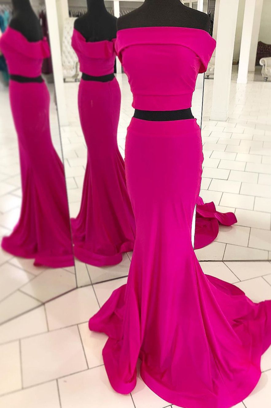 Simple Two Piece Off The Shoulder Mermaid Prom Dress Hot Pink Prom Dress Mermaid Prom Dresses Piece Prom Dress [ 1325 x 883 Pixel ]