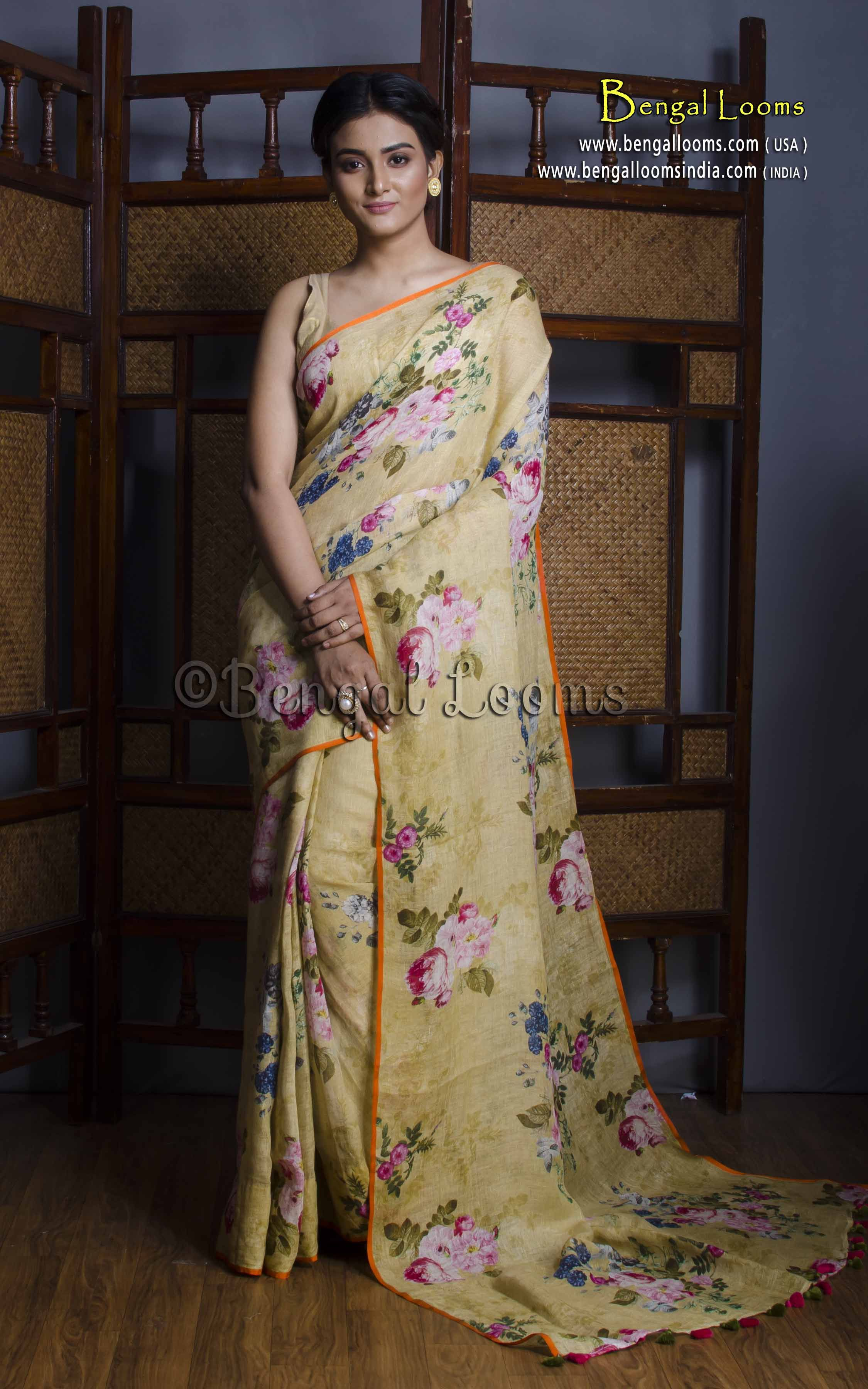 44159490242 Pure Handloom Digital Printed Floral Linen Saree in Light Yellow ...