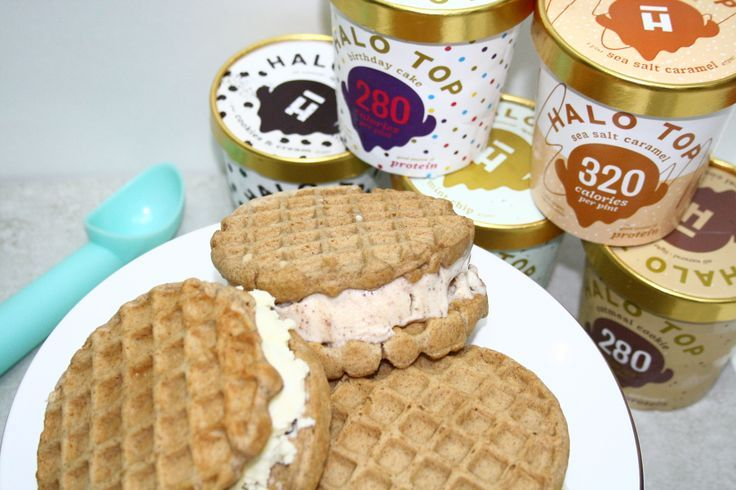 Healthier Halo Top Ice Cream Waffle Sandwiches made with Van's Gluten Free W... - Food -