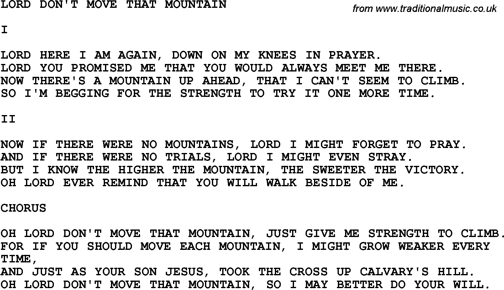Country, Southern and Bluegrass Gospel Song Lord Don't Move