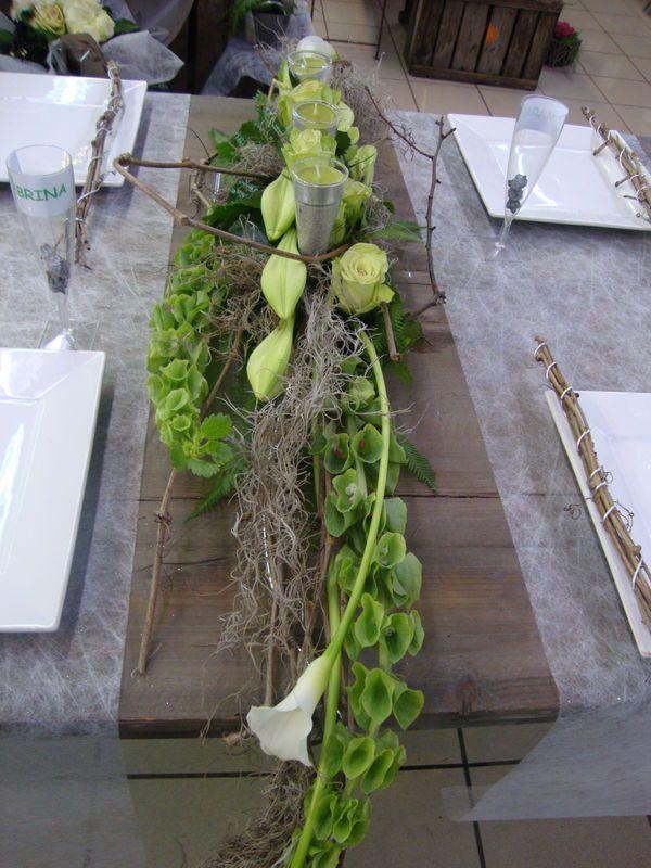 R sultat de recherche d 39 images pour centre de table vert et blanc compo florale pinterest - Centre de table floral moderne ...