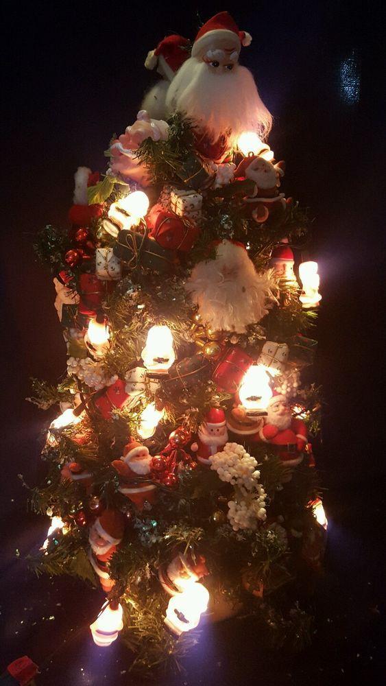 VINTAGE CHRISTMAS LIGHTED TREE HERE COMES SANTA COTTON SPUN FUR FELT