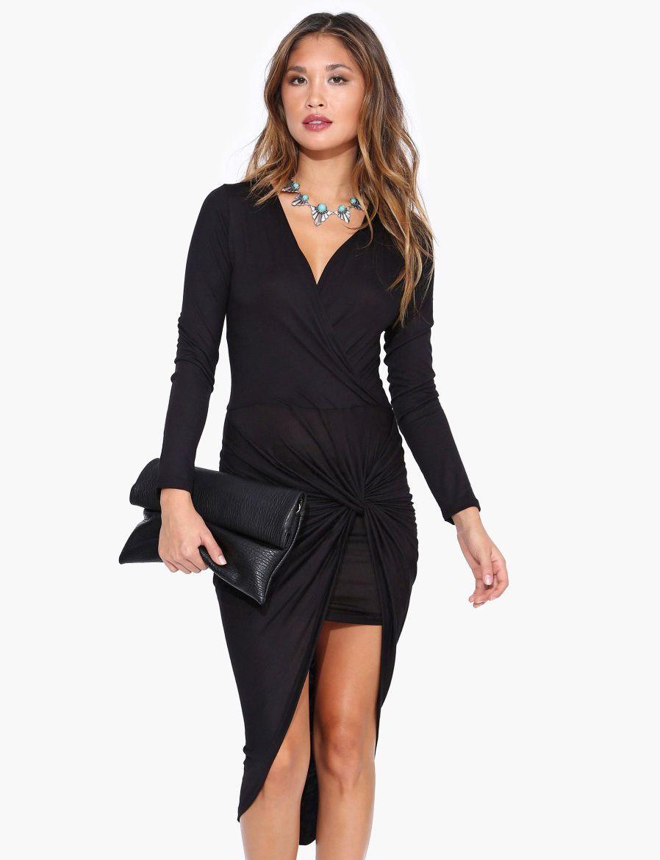 Black v neck long sleeve asymmetrical bodycon dress my