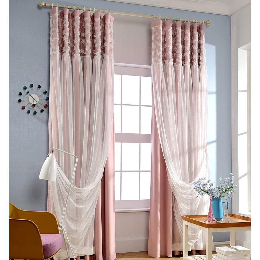 Romantic Pink Blackout Fabric And White Lace Curtain White Lace
