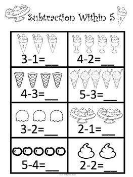Kindergarten Math Bundle In 2020 Kindergarten Addition Worksheets Preschool Math Worksheets Kindergarten Subtraction Worksheets