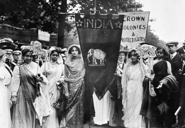 Group of Indian suffragettes in London, 1911