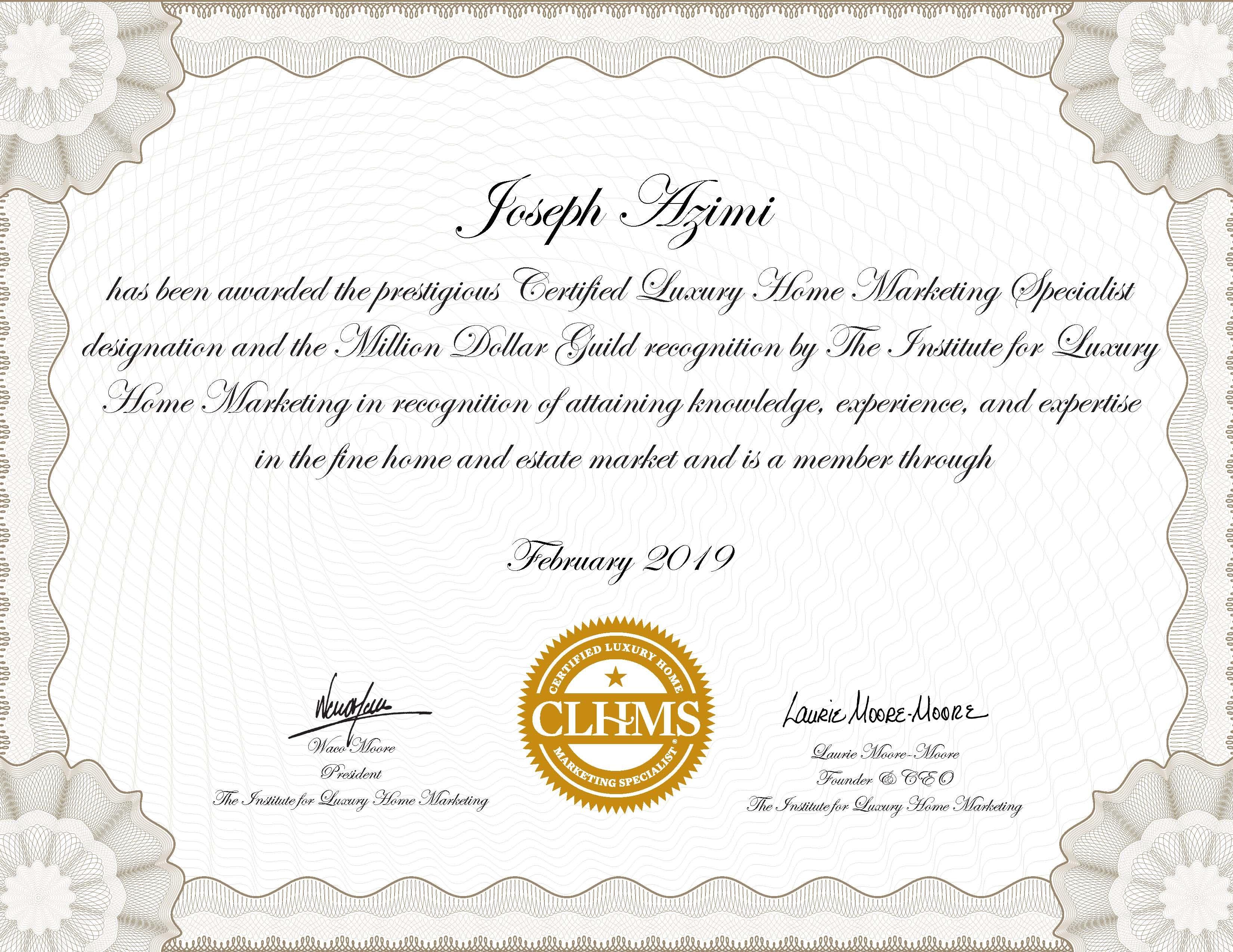 Beau CLHMS   JOSEPH AZIMI CERTIFIED LUXURY HOME MARKETING SPECIALIST IN ONTARIO,  TORONTO, VAUGHAN,